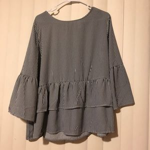 New With Tags — Stripped Shirt With Ruffles